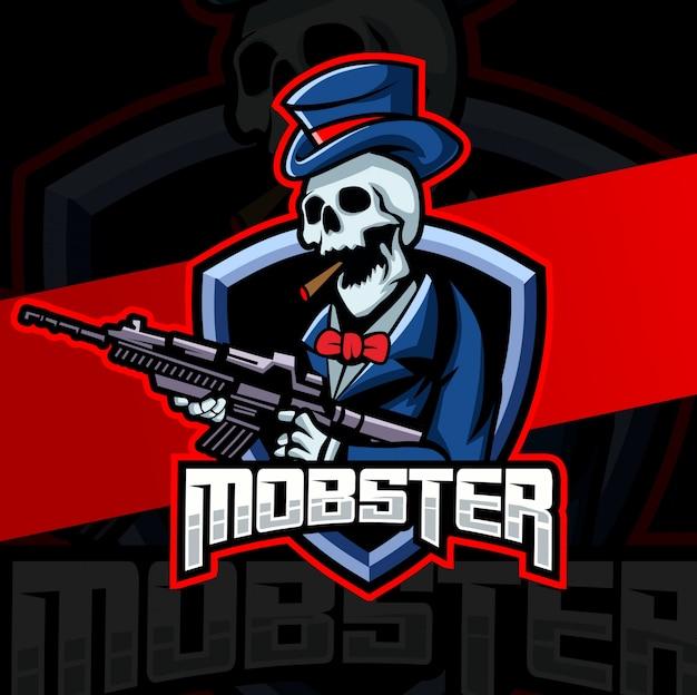Гангстер гангстер череп талисман кибер дизайн логотипа