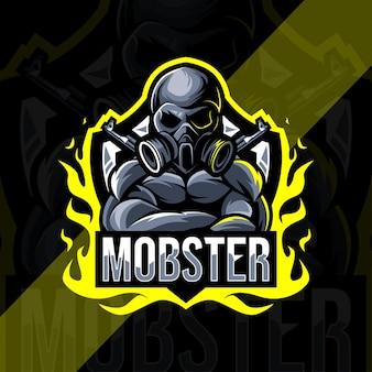 Гангстер талисман логотип киберспорт дизайн шаблона