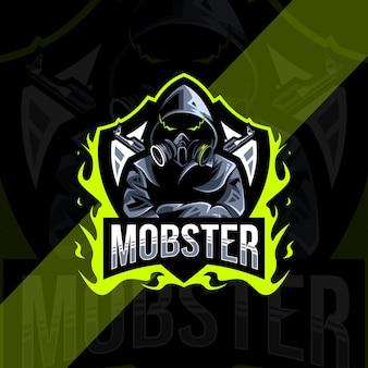 Mobster mascot logo esport template design