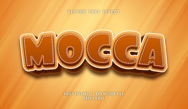 Текстовый эффект mocca, редактируемый текстовый стиль