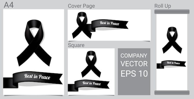 Mock up black respect ribbon
