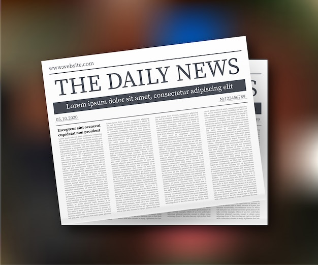 Mock up of a blank daily newspaper. fully editable whole newspaper in clipping mask.   illustration.