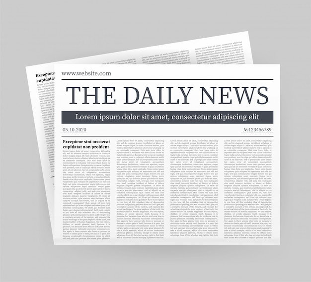 Mock up of a blank daily newspaper. fully editable whole newspaper in clipping mask. stock illustration.
