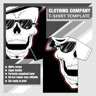 Mock up clothing company t-shirt design skull