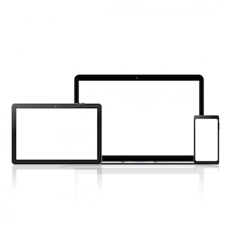 Mock up of computer, laptop, tablet and smart phone