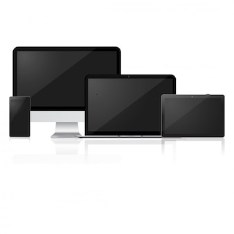 Mock up of computer, laptop, tablet and smart phone.