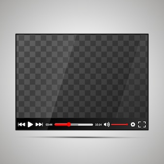 Mock up of glossy video player with transparent place for screen
