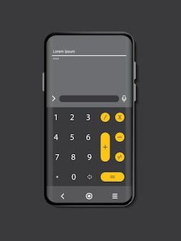 Mock up mobile phone color black on gray background