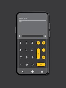 灰色の背景に黒の携帯電話の色をモックアップ