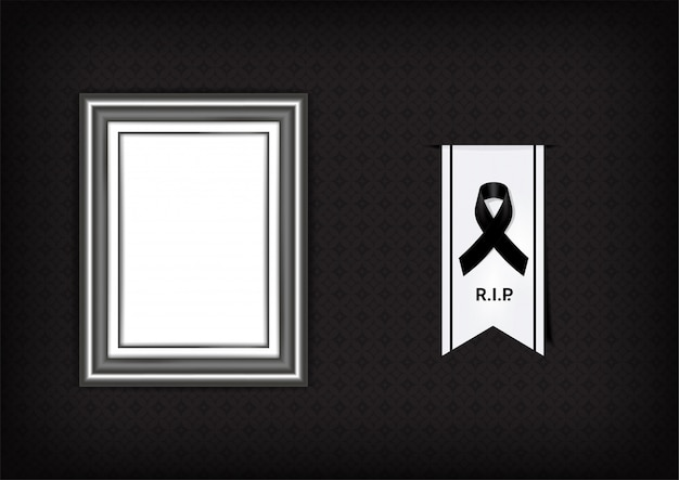 Mock up mourning symbol with black respect ribbon and frame