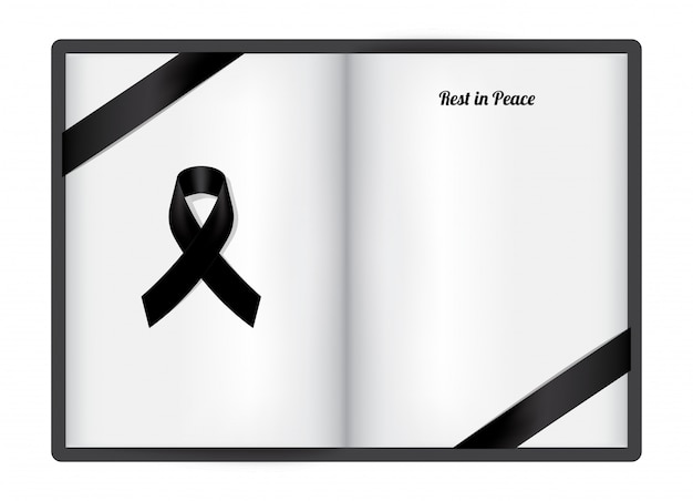 Mock up mourning symbol with black respect ribbon on white paper