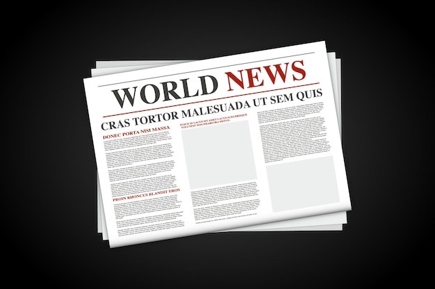 빈 일간 신문을 비웃는다. 현실적인 벡터는 흑백 신문을 조롱합니다. 복사 공간의 위치가 있는 신문입니다. 세계 뉴스 경제 비즈니스 헤드라인이 있는 신문 템플릿