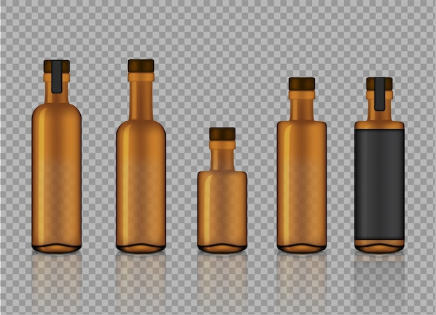 Mock up realistic amber transparent glass product bottles