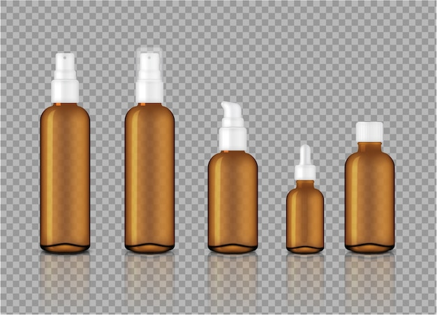 Mock up realistic amber transparent oil dropper bottles for skincare product