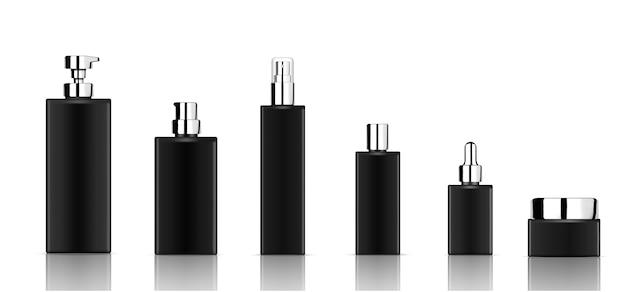 現実的な黒の化粧品のボトル製品をモックアップ