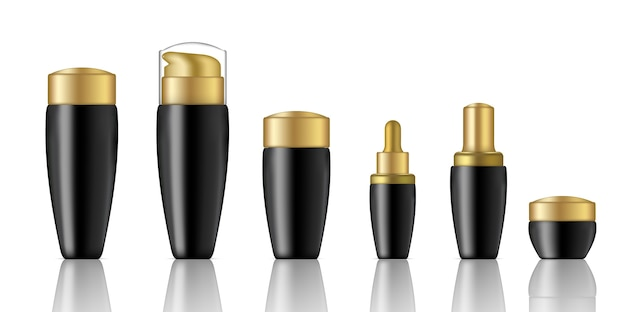 Mock up realistic black cosmetic and dropper bottles