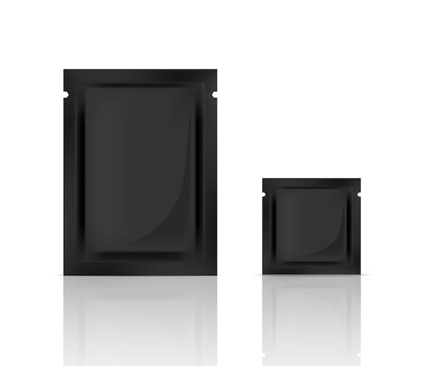 現実的なブラックフォイルサシェスキンケアパッケージをモックアップ