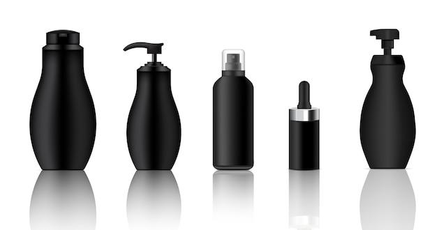 Mock up realistic black spray, dropper, pump cosmetic bottles