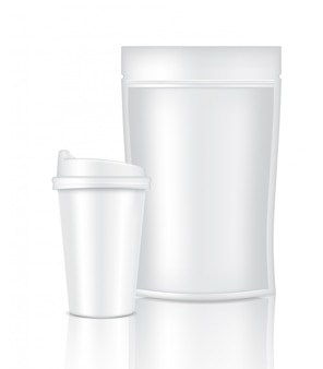 Mock up realistic coffee white cup packaging product and bag