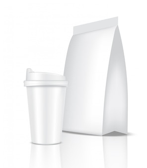 Mock up realistic coffee white cup