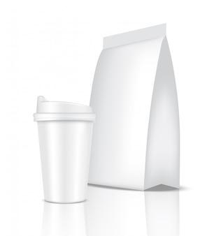 Макет реалистичная кофейная белая чашка