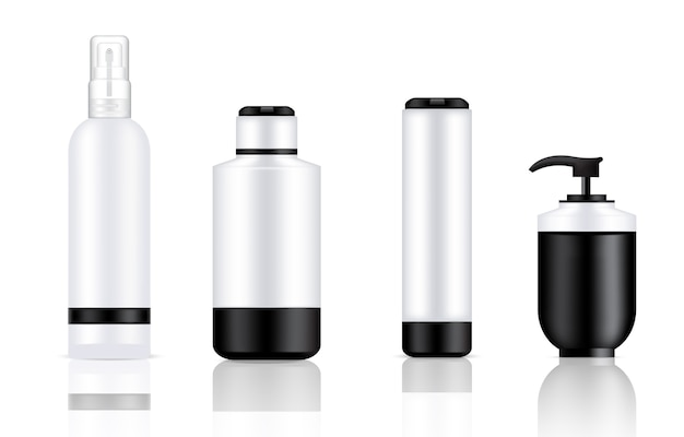 Mock up realistic cosmetic pump bottles background