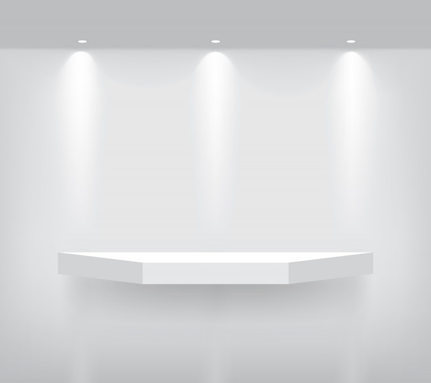 Mock up realistic empty geometric shelf for interior to show product