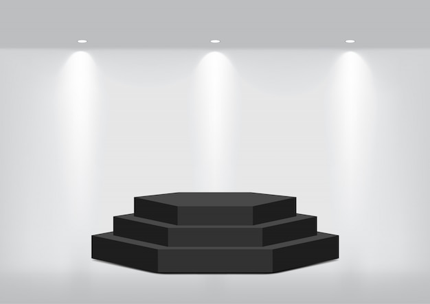 Mock up realistic empty geometric shelf for interior to show
