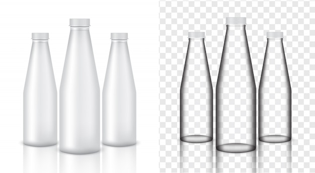 Mock up realistic glass bottle transparent packaging product