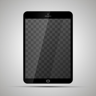 Mock up of realistic glossy tablet with transparent place for screen
