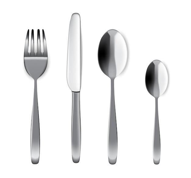 Mock up realistic metal spoon