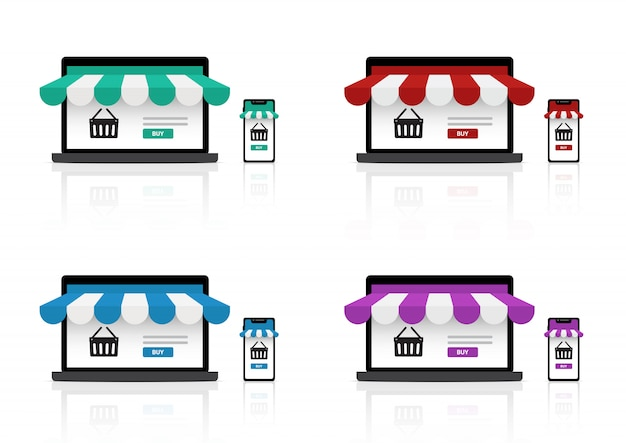 Mock up realistic online shopping store