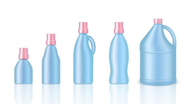 Mock up realistic plastic gallon packaging