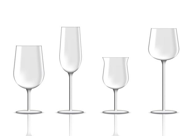 파티 일러스트를위한 현실적인 프리미엄 와인 잔을 모의