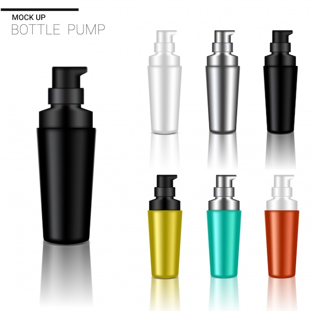 Mock up realistic pump bottle cosmetic set template on white background.