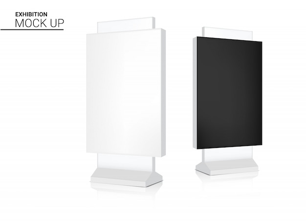 Mock up realistic roll up banner kiosk display booth for sale marketing promotion