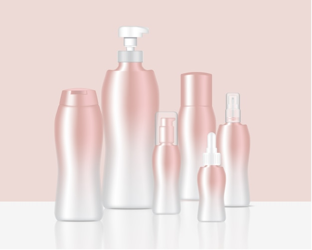 Mock up realistic rose gold pastel bottles