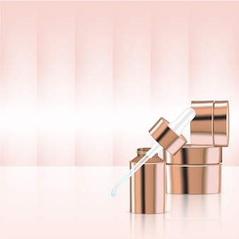 Mock up realistic rose gold pastel cosmetic dropper bottles