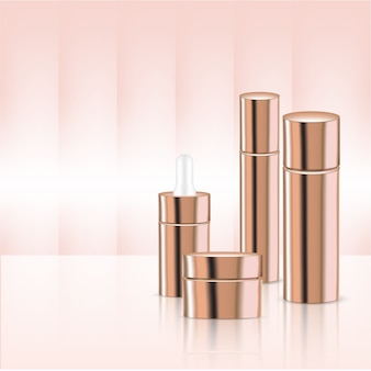 Mock up realistic rose gold pastel cosmetic product