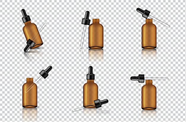 Mock up realistic transparent amber dropper bottle