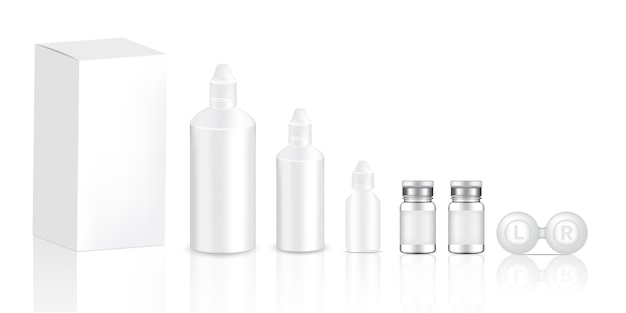 Mock up realistic transparent contact lenses bottles product