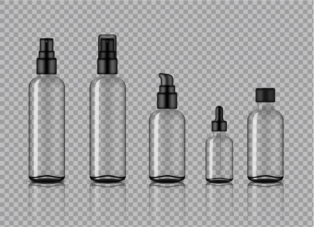 Mock up realistic transparent glass cosmetic bottles product