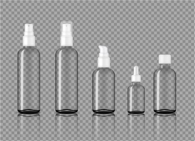 Mock up realistic transparent glass cosmetic bottles