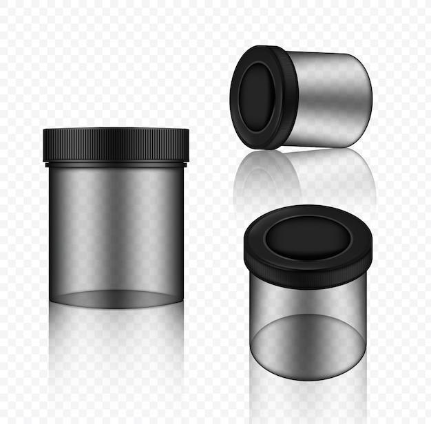 Mock up realistic transparent jar packaging