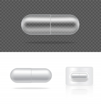 Mock up realistic transparent pill medicine capsule panel on white background.