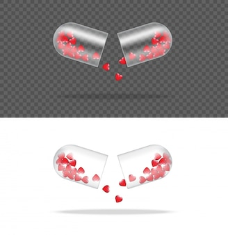 Mock up realistic transparent pill medicine capsule panel with heart on white background.