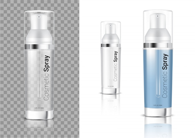 Mock up realistic transparent spray bottle cosmetic