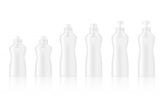 Mock up realistic white bottle for dish washing and cosmetic