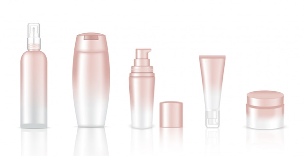 Mock up realistic white cosmetic bottles