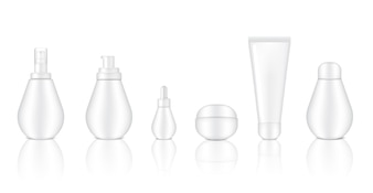 Mock up Realistic White Cosmetic Spray Bottles
